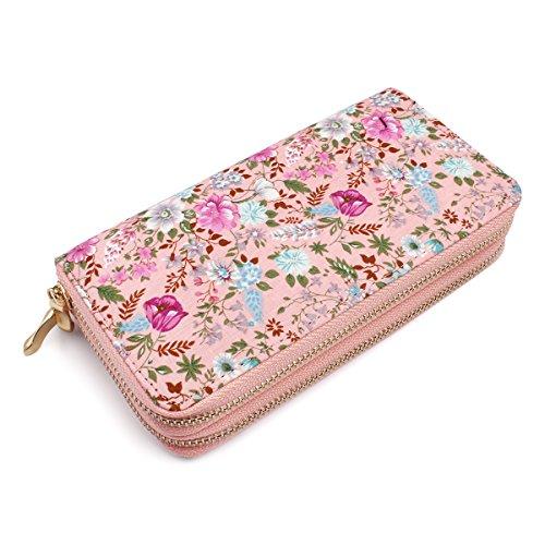 (Lovely Floral Print Zip Around Wallet - Cute Flower Pattern Double Zipper Clutch Long Purse Card & Phone Wristlet Strap (Wild Flowers - Pink))