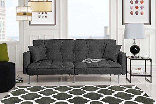 Divano Roma Furniture Collection - Modern Plush Tufted Linen Fabric Splitback Living Room Sleeper Futon (Dark Grey) (Gray Futon)