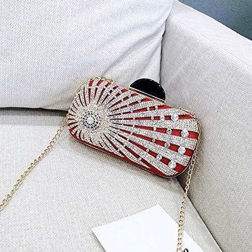 Black Purse Party Crystal Rhinestone Pouch Bag Women's Clutch Sparkling Evening Red Handbag Flada Beautiful Clutch Glitter Prom RqTZn
