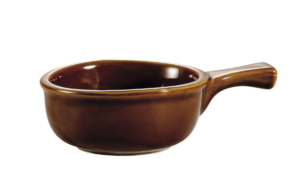 CAC China OC-15-H 15-Ounce Stoneware Round Onion Soup Crock with Handle, 7-1/2 by 5 by 2-1/4-Inch, Brown, Box of 24