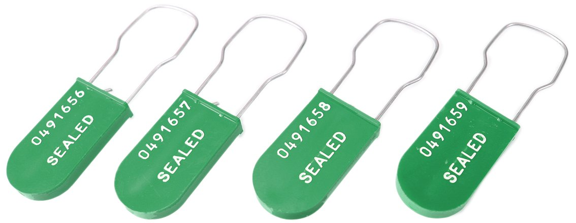 Accuform TLS123GN Plastic Padlock Wire Seals, Printed''SEALED'' and Random Start Sequential Numbering, Green (Pack of 100)