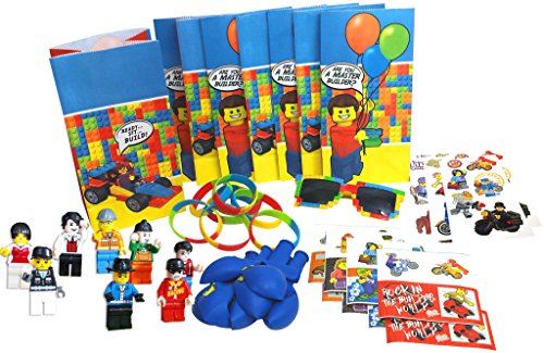 Party Favor Set for a Lego-Themed Birthday Party, Super Fun 8-Packs of Bags, Stickers, Wristbands, Balloons, Temporary Tattoos, Mini Figures, and BONUS pair of Brick Sunglasses for Birthday - Tattoo Sunglasses
