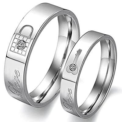 KONOV Jewelry Stainless Steel Cubic Zirconia Key & Lock Love Couples Promise Ring Mens Womens Wedding Band, Silver
