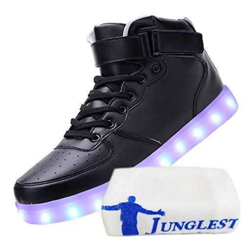 (Present:small towel)JUNGLEST Womens USB Charging LED Sport Shoes Flashing Sneake Black