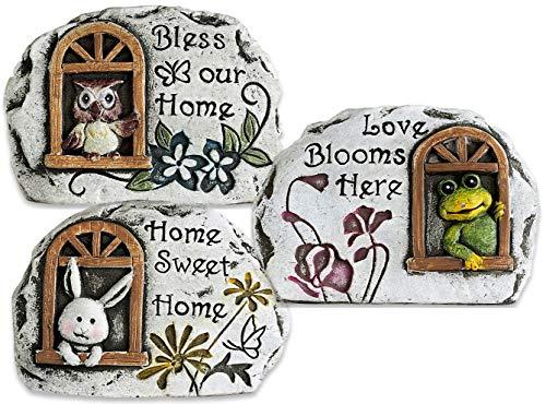 Garden Stones Cute Decorative Set of 3 Frog, Owl, Bunny Rabbit Fairy Garden Accessories Bundle of 3 Cement Stones with Sayings