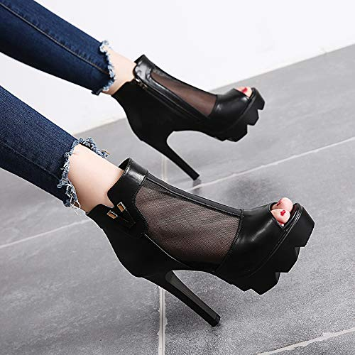 High Sandals Thirty Fish Nightclubs Waterproof Seven In Autumn KPHY Black Thin Tables 11Cm Heels Gauze Sexy Shoes Women'S Mouth Boots wq8AIt