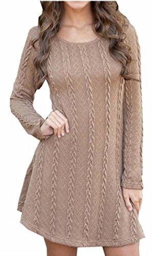 Jaycargogo Femmes Pull En Tricot Maille Casual Robe À Manches Longues En Tête Brune