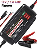 BMK 12V 5Amp Fully Automatic Battery Charger 4-Stage Maintainer Smart Charging Waterproof for Car Motorcycle Lawn Mower Marine Scooter Lead Acid Battery