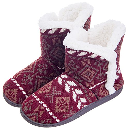 MIXIN Womens Anti Slip Knitted Woolen Striped Faux Fleece Lined Indoor Outdoor Slipper Boots