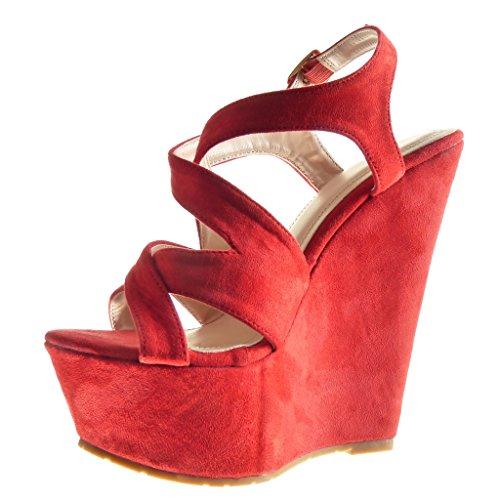 Angkorly - Zapatillas de Moda Sandalias Mules zapatillas de plataforma mujer tanga Talón Plataforma 15 CM - Rojo