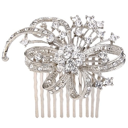 EVER FAITH Silver-Tone Bridal Cluster Leaf Ribbon Hair Comb Clear Austrian Crystal
