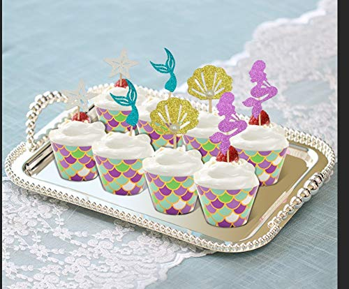 48 Pack Mermaid Cupcake Toppers + Wrappers for Birthday Party Supplies,Baby Shower, Cake Decoration by Sunnycows (Image #3)'