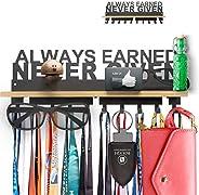 Trophy Medal Holder Display Hanger Rack Frame Shelf with Wooden Shelf- Black Steel Sturdy Wall Mount Over 40 M