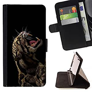 BETTY - FOR Samsung Galaxy S5 Mini, SM-G800 - cool rawr roar leopard animal sexy fierce black - Style PU Leather Case Wallet Flip Stand Flap Closure Cover
