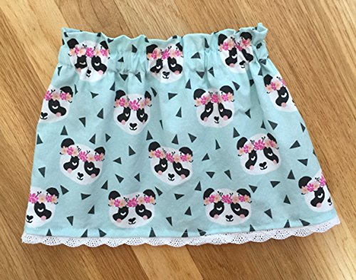 Baby Girl Panda Skirt-Toddler Girl Panda Skirt-Animal Flower Crown-Baby Blue Skirt-Chinese Print-Animal Print-Baby Girl Elastic Skirt