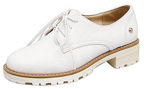 Allhqfashion Femmes Ronde Fermé Orteils Lacets Pu Solide Talons Bas Pompes-chaussures Blanc