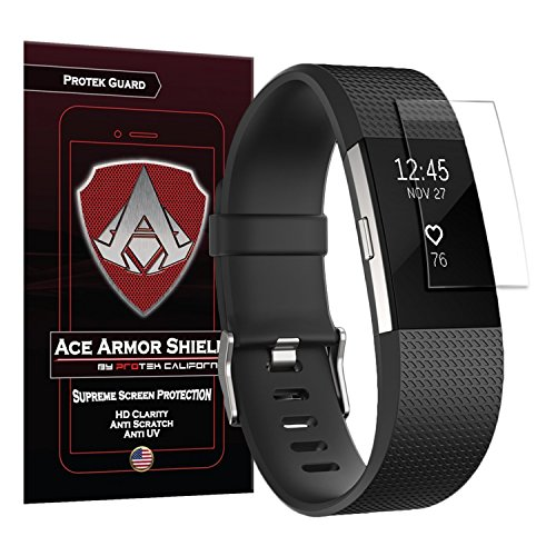 Screen Protector Guard Shield - Ace Armor Shield Protek Guard Screen Protector for The Fitbit Charge 2 (6 Pack) with Free Lifetime Replacement Warranty