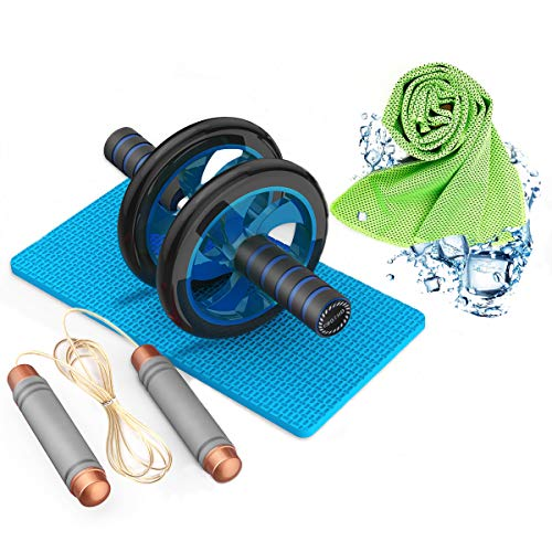 AB Roller Wheel 4-in-1 Kit AB Roller Pro with Weighted Jump Rope Bar,Cooling Towel and Knee Mat, Perfect Abdominal Core Carver Fitness Workout Core Muscles,The Best Combination for Fitness