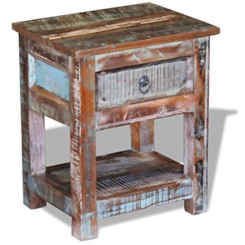 Amazon.com: vidaXL – sólido madera recuperada lateral mesa ...