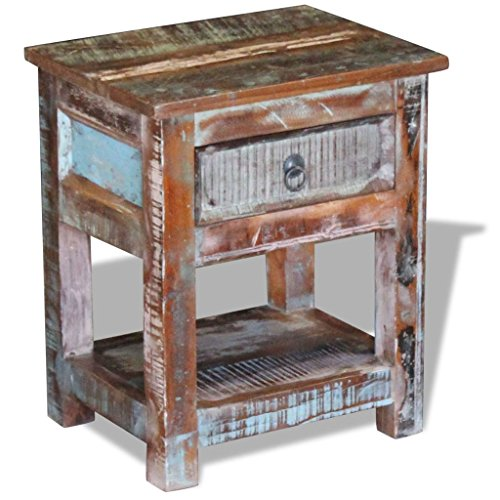 (vidaXL Solid Reclaimed Wood Side End Table Storage Cabinet Nightstand 1 Drawer)