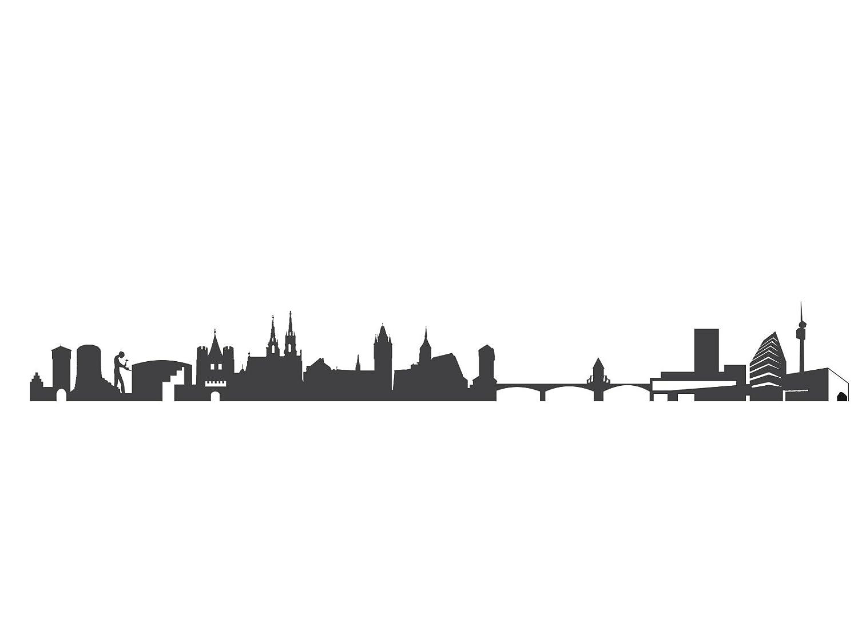 44spaces Basel Skyline Wandtattoo Wandsticker In Dunkelgrau