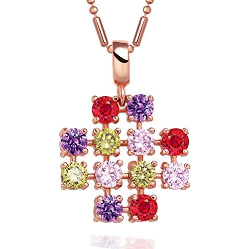 Magical Jerusalem Cross Protection Powers Amulet Gold-Tone Colorful Sparkling Crystals 18 Inch (Crystal Gold Tone Cross)