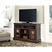 North Shore W553-68 60 Large TV Stand with Fireplace and Audio Insert Compatibility 3 Adjustable Shelves 2 Doors and Carved Detailing in Dark Brown