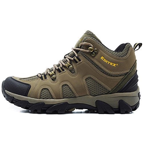 Editex Mans Outdoor Hiking Boots Waterproo Fleather Upper and Fabric Lining Rubber Outsole Two Colors (Tan 6.5(M)US)