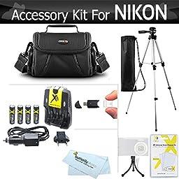 Accessory Kit For Nikon Coolpix B500, L330, L340, L120, L310, L810, L820, L620, L830, L840 Digital Camera Includes 4AA High Capacity Rechargeable NIMH Batteries + Rapid Charger + Case + Tripod + More