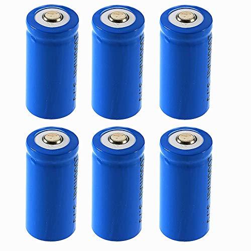 (Rechargeable Batteries(6-Pack) - 2000mAh 3.6V 16340 CR123A Li-ion Rechargeable Battery for Flashlight Torch - for Rechargeable Flashlight - Pre-charged)