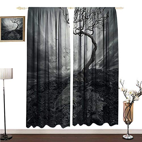 Anshesix Extra Wide Curtains Horror House Decor Black and White Dramatic Mist Sky Gulls in Air Lonely Tree Enchanted Windy Day W96 xL84 Decor Curtains by