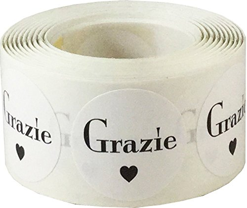 Grazie Italian Thank You White Adhesive Stickers 1 Inch Round Circle Dots 500 Labels Per Roll (Italian In 1)