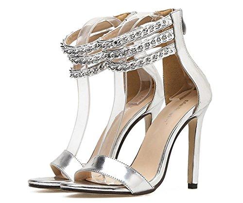 ZPL Women's Ladies Sexy Sandals Stiletto High Heel Shoes Peep Toe Ankle Strap Gold Silver Party Dress Nightclub SILVER OPaMDT7B