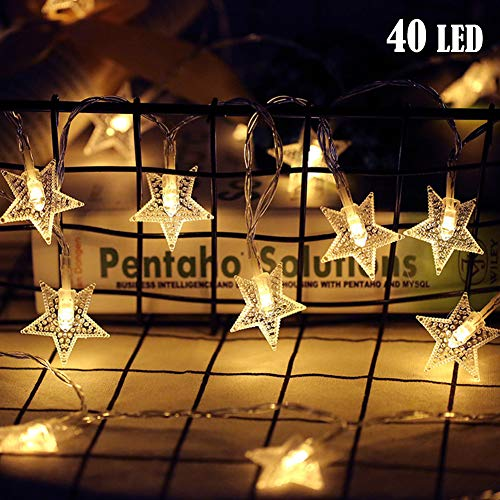 Twinkle Star 40 LED 14 FT Star String Lights Battery Operated, Fairy String Light for Home, Party, Christmas, Wedding, Garden Decoration, Warm White