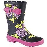 Woodland Womens/Ladies Mid Calf Wellington Boot (5 US) (Black Multi)