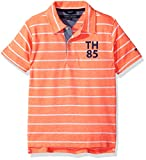 Tommy Hilfiger Boys' Little Short Sleeve Striped Polo Shirt, Fiery Coral 5