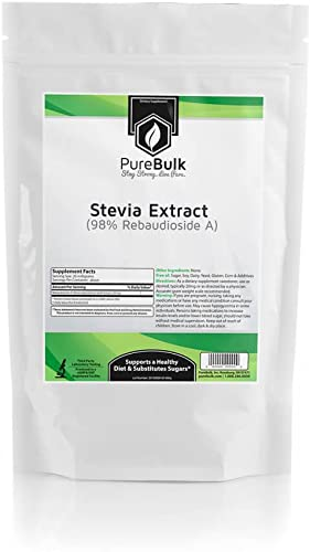 PureBulk Stevia Extract 98 Rebaudioside A Container Bag Size 10g Powder