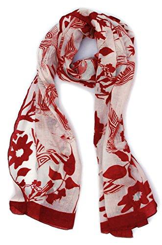 Hummingbird Scarf: Sheer Soft Cotton: Scarlet