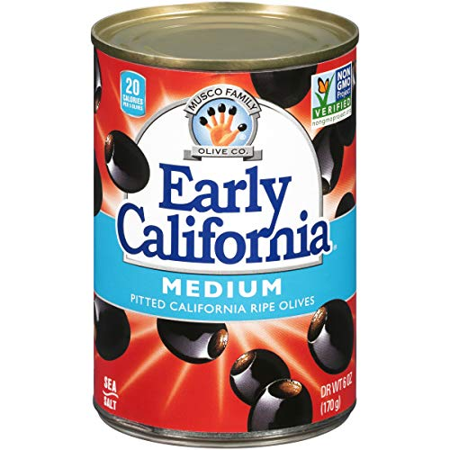 Early California Ripe Pitted Medium Black Olives, (12) 6-Ounce Cans (Best Pasta In The World)