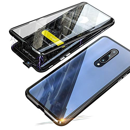 Jonwelsy Magnetic Adsorption Case for Xiaomi Mi 9T / 9T Pro, 360 Degree Front and Back Clear Tempered Glass Flip Cover, Metal Bumper Frame for Xiaomi Mi 9T / 9T Pro (Black)