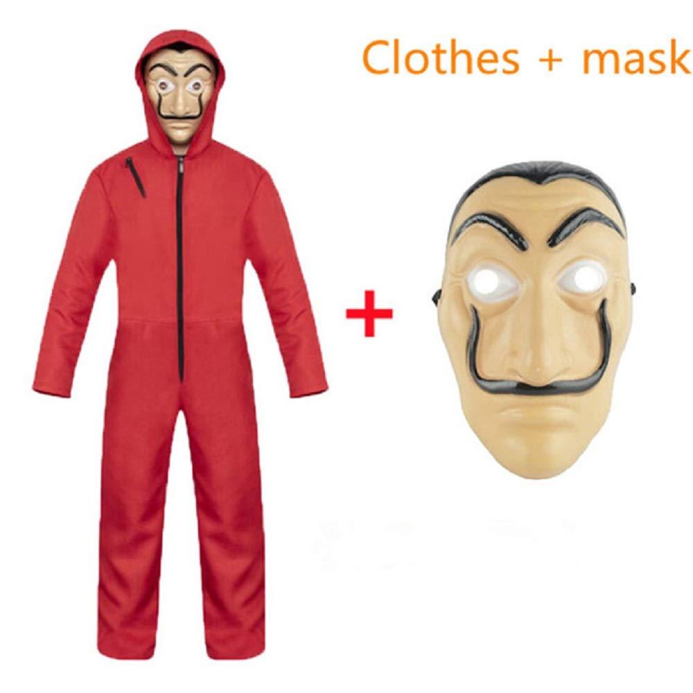 Jasmine7 La Casa De Papel Jumpsuit Hoodie Mask Disfraz de Halloween Rojo para Conjunto de Mono Unisex