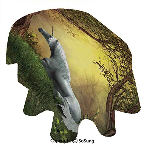 SoSung Unicorn Oval Polyester Tablecloth,Enchanted Forest Fantasy Magical Willow Trees Wildflowers Woodland Animal Folklore,Dining Room Kitchen Oval Table Cover, 60 x 120 inches,Green White
