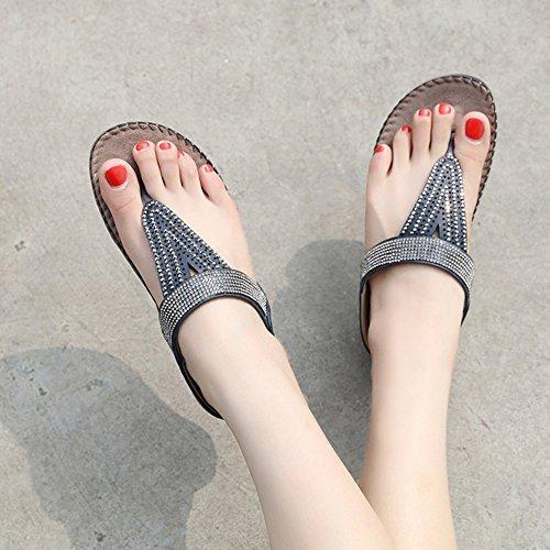 Fil Sandales plat Blue Antidérapant Fond Femmes de taille Tongs Doux Confortable strass Grande Z6q6wC