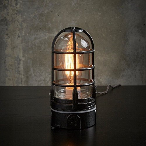 The ''Vapor Touch'' Hammered black - Nautical style Industrial cage table lamp w/ Touch Dimmer | MillerLights Original by MillerLights
