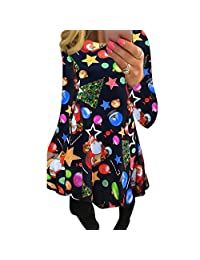 INIBUD Ugly Christmas Dresses for Women Long Sleeve Santa Snowflake Casual T Shirt Dress Floral Print