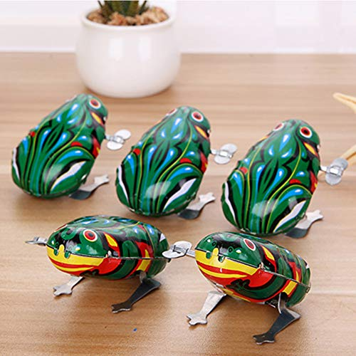 HsgbvictS Classic Toys Novelty Toy Kids Classic Wind Up Clockwork Toy Jumping Frog Children Boys Educational Wind Up Toy, Animal Design, Educational Toy - Green