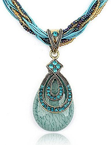 Fashion Women's Bohemia Vintage National Style Cat's Eye Stone Peacock Chain Necklace Pendant(Blue) (Plastic Vintage Beads)