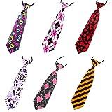 LilMents 6 Pack Mixed Fashion Smart Formal Elastic Pre Tied Necktie Tie Set (Set D)