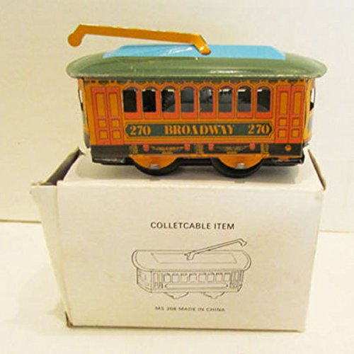 Vintage Wind Up Tin Toy Clockwork Spring Trolley Bus Toy Cable Car ()