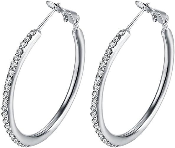 Fashion Wide 14K Gold Plated Cubic Zirconia Hoop Earrings for Women Girls Sensitive Ears Diamond CZ Hoops